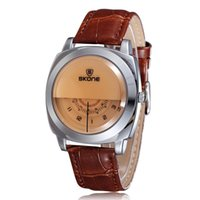 Wholesale Men S Watches Leather Strap - Skone Fashion Quartz Watch with Three Dial One H Min S Hand Water-proof Leather Strap Stainless Steel Men Wristwatch Analog