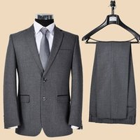 Wholesale-Top Selling New Maß / Ballkleider Herren Tux Revers Herrenanzug dunkelgrauen Anzug Bräutigam-Hochzeits-Kleid / Jacket +