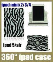 Wholesale Zebra Ipad Mini Cases - hot sale ipad cases stand 360 rotating tablet case protective shell skin for ipad mini ipad 2 3 4 5 air tablet zebra-stripe print PCC020