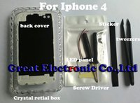Wholesale Iphone 4s Leads - White Cell phone DIY tool luminescent Glowing LED Lighting Mod Kit Back Case logo light up cover for iPhone 4 4s with tools,free shipping