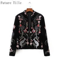 Wholesale Velvet Embroidered Coat - Wholesale- Future Time Embroidery Jacket Women Flower Velvet Coats Vintage Butterfly Animal Embroidered Jackets Female Black Outwear WT162