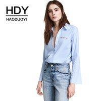 HDY Haoduoyi Letters Вышивка Stripe Flare Sleeve Shirt Button Down Женская блуза Осень Карьера Работа Носите Рубашки Блузки q1109