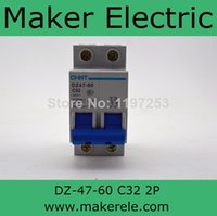 Wholesale Miniature Circuits - Wholesale-Original new 100%,Chint air switch GFCI home empty open air switch Miniature Circuit Breaker DZ47-60 2P C32