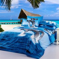 Dolphin 3D Bedding Oil Painting 4pcs Printed Duvet Cover Bedding Sets Tridimensional Pattern Home Textiles