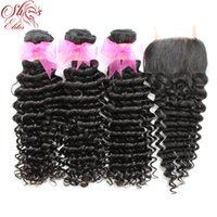"""Wholesale Queen Hair Curly Closure - Queen Hair 1PC Top Lace Closures With 3Pcs Hair Weft,4pcs lot,Brazilian Remy Hair Extension Natural Curly Deep Wave 12""""-28"""""""