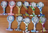 Wholesale Silicone Nurse Brooch Watch - Wholesale 11colors New Nurse Watch Brooches Silicone Leopard Tunic Batteries Nurse Watch NW002