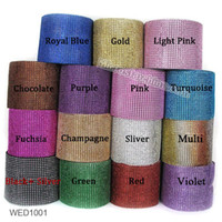 Wholesale Deco Mesh Wholesale - Wholesale-Gold Deco Mesh Trim Wedding Decoration Bling Diamond Mesh Wrap Cake Roll 1 yards Sparkle Party Rhinestone Crystal Ribbons