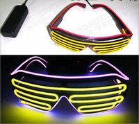 100 unids / Voice Activate EL Wire 2Color Light LED Glasses Cold Light Party Glasses Bar Club Performance Glow DJ Dance Glasses Juguetes Led