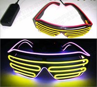 Wholesale New Years Led Glasses - 100pcs  Voice Activate EL Wire 2Color Light LED Glasses Cold Light Party Glasses Club Bar Performance Glow DJ Dance Glasses Led Toys