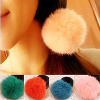 Wholesale Candy Color Elastic Rope - kids Fashion faux Rabbit Fur Fluffy Elastic Hair Holder Band Pom Pom Scrunchie new lovely Candy color Hair rope B001