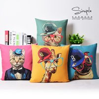 Arte Pop Perro Baratos-4 Estilos American POP Animal Art Fundas de cojines Cute Dog Cat Jirafa Con Sombrero Funda de cojín Dormitorio Decorativo Funda de Almohada de Lino