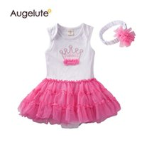 Wholesale Girls One Set Retail - 2015 Summer Baby Girls Romper %100 Pure Cotton Crown One Piece Tutu Dress Jumpsuits With headband Set Toddler Rompers Clothes Retail AB39