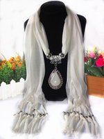 Wholesale Necklace Scarve - Fashion Oval Pendant Necklace Collares Brand New Charm Wrap Diamond Jewelry Scarf Silver Plated Necklace Crystal pendant scarve For Women