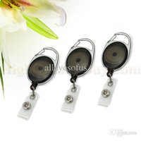 Wholesale-3x Schwarz Karabiner Stil Retractable Reel Schlüsselanhänger ID Badge Clip Holder Amt NEW