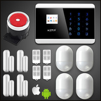 Wholesale gsm pstn burglar alarm - LS111- KERUI Android IOS APP 433Mhz Sensor Dual-network GSM PSTN with anti-pet pir self-check door sensor Home Burglar Security Alarm