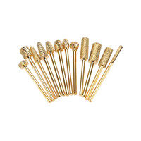 Wholesale Gold Drill Bits - Wholesale-12Pcs Gold Plated Nail Drill Bits Grinding Heads for Nail Art Polish Machine Tungsten Steel Nail Grinding Heads