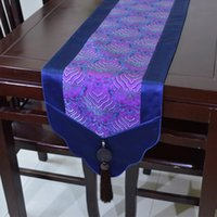 Wholesale Blue Coffee Table - New Chinese style Luxury Patchwork Jade Table Runner Party Table Decoration Real Silk Brocade High Grade Coffee Table Cloth L200 * 33cm