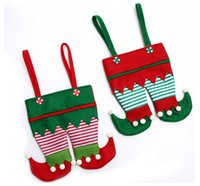 Wholesale Christmas Elf Ornaments - Non Woven Fabric Christmas Elf Pants Stocking Candy Bag Kids Xmas Party Decoration Ornament Gift wen4809