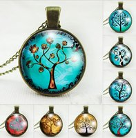 Wholesale Bronze Choker - Vintage Life Tree Pendant Necklace Art Tree glass cabochon Necklace Bronze chain choker women child necklaces charm jewelry gift