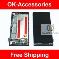 Wholesale Huawei P6 Pink - White Black And Pink Color Touch Screen Digitizer + LCD With Frame For HUAWEI Ascend P6 1PC  Lot Free Shipping