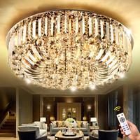 kolye yüksek tavan ışıkları toptan satış-Yüksek Kalite Yeni Modern paslanmaz çelik K9 Kristal LED E14 Avize Odası Tavan Işık Sarkıt Aydınlatma 50 cm 60 cm 80 cm