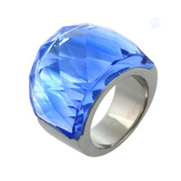Wholesale Rings Large Stones - Wholesale-Stainless Steel Wedding Jewelry Big Crystal Rings For Women, Vintage Large Stone Rings Party Gift Wholesale