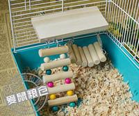 Wholesale Wooden Hanging Parrot - Pet Bird Hamster Wooden Toy Rat Mouse Parrot Hanging Ladder Bridge Shelf Cage