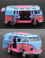 Wholesale Volkswagen Models - High Simulation Volkswagen T1 Bus Retro Classic Car Van Model 1:32 Scale Alloy Pull Back Bus Model DieCast Metal Toys Music Flash