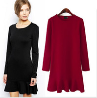 Wholesale Basic Mini Dress - Women's Brand Brief Sheath Dresses Women Ruffled Basic Dress Casual Party Sexy Dress Autumn Winter Plus Size XL