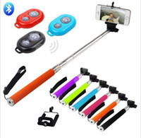 Wholesale Iphone Camera Remote Shutter - 3 in 1 kit set Bluetooth Remote Shutter Phone Clip Camera mobile phone Selfie Stick Monopod iPhone IOS Samsung Android with retail box