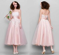 Wholesale Tea Lenght Lace - Elegant Pink Prom Long Dresses Appliques Lace Sashs Ribbons Strapless Tulle Tea Lenght Evening Dress Red Carpet Gown Free Shipping Cheap Zyy