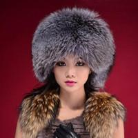 Wholesale Russian Cossack Hat Black - Wholesale-Winter Faux Fur Russian Pillbox Women Hat Black White Grey hat Warm Winter Cossack Women Hat Free Shipping