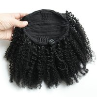 Grade Human 8A Hair Extension Curly Ponytail hairpieces 1Pic Kinky Curly Drawstring Pony tail Virgin Brazilian Human Real Hair120g