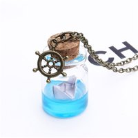 Wholesale Tear Bottle Necklace - Fashion Sea Ocean Wish Bottle Pendant Mermaid Tears Boat Anchor Necklace