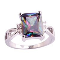 Wholesale Mystic Topaz Sets - Wholesale 2016 Dreamlike Women New Jewelry Mystic Rainbow White Topaz Fashion Silver Ring Size 6 7 8 9 10 11 Free Shipping