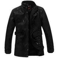 Wholesale genuine leather parka - Wholesale- 2017 Hot Sales Medium Style Business Men's PU Leather Jacket Men Jacket Warm Winter Coat M-3XL Father Parkas
