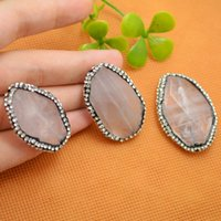 Druzy 8pcs Faceted Natural Agate Quartz Stone Conectores Bead, Pave Rhinestone Crystal Connector Beads Jewelry Making