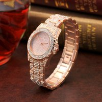 Wholesale Diamond Ladys Watch - 2017 Christmas gift women watch big diamonds face rose gold watch for ladys quartz movement steel strap high quality free shipping