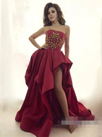 Wholesale High Low Special Occasion Dresses - Newest Dark Red High-Low Prom Dresses Crystals Lace up Back Taffeta Evening Dresses Vestido De Fiesta Prom Gowns Special Occasion Dresses