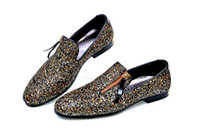 Wholesale Gold Glitter Wedges - .Wholesale New Men Loafers Dress Shoes Mens Sequined shoes Vintage Men's Flats Brand Mens Driving Slippers Black Casual Shoes 132