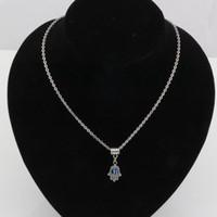 pendentif main fatima achat en gros de-Chaud! 20PCS Fatima Hamsa Hand turc bleu mauvais œil collier charme pendentif Kabbale juive