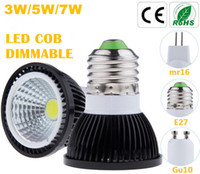 Wholesale 12v 7w e14 - Super Bright COB Dimmable Led Bulbs 3W 5W 7W E27 GU10 E14 GU5.3 110-240V MR16 12V Led Spotlight Led Bulb Downlight Lighting CE ROHS UL CSA