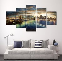 Wholesale Paintings Cityscapes - 5 Panel Cityscape Bridge Frameless Painting Wall Art Canvas Painting for Home Living Room Decoration Free Shipping