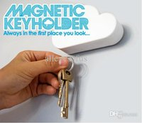 Wholesale Hangers Magnets - Wholesale-Cool White Creative Novelty Cloud Shape Magnetic Magnets Key Holder Home Keychains Hanger Good Gifts Free Shipping