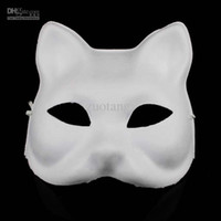 Wholesale Plain Paper Masquerade Masks - Cat DIY Plain White Masks Animal Hand Painting Blank Unpainted Paper Pulp Masquerade Masks for Christmas Birthday Festive Party