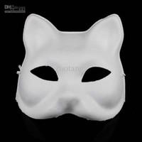 Wholesale Plain White Masquerade Masks - Cat DIY Plain White Masks Animal Hand Painting Blank Unpainted Paper Pulp Masquerade Masks for Christmas Birthday Festive Party