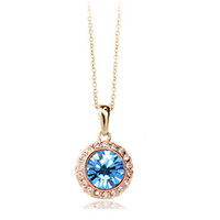 Wholesale Moon Crystal - Moon River Necklace Round Shape Pendant 18K Gold Plated Necklace Jewelry For Women Crystal Jewelry 1075