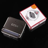 Wholesale Wholesale Iron Pipes - GIZEH 70MM Aotomatic Rolling Machine Cigarette Roller box MACHINE herb grinder vaporizer snuff snorter metal pipe rolling papers