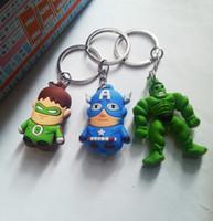 lanterna do keychain venda por atacado-2015 Nova Lanterna Verde / Capitão América / The Hulk anime menino Chaveiro lados brinquedos macios para crianças B001