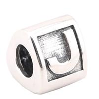 ingrosso fascino europeo di alta qualità-Charms in argento sterling 100% 925 Ale Lettera J Charms europei per bracciali Pandora Perline fai da te Accessori di alta qualità